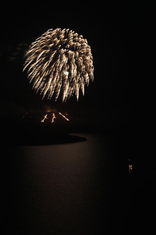 Santorini volcano fireworks