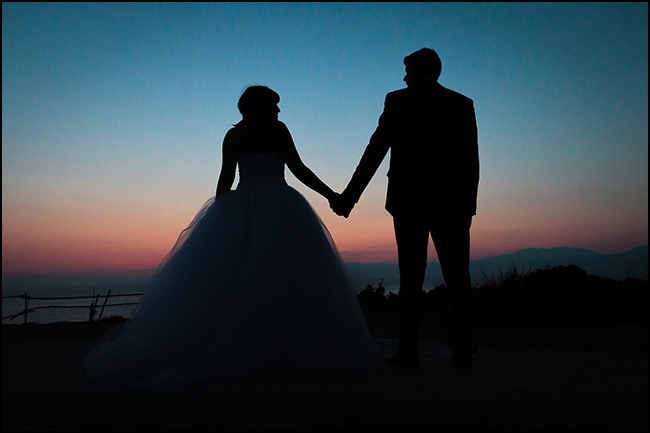 Sofia Kostas sunset wedding photo