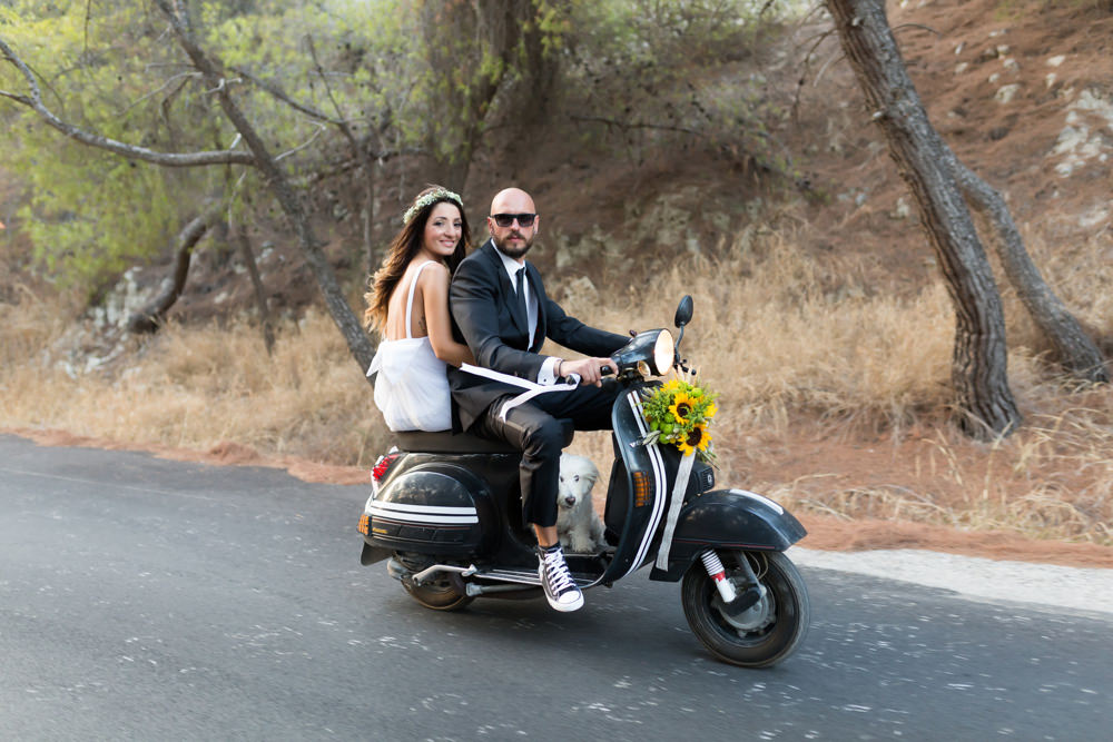 Loutraki wedding, vespa wedding