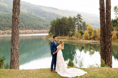 Lake Doxa, photoshoot of a wedding couple