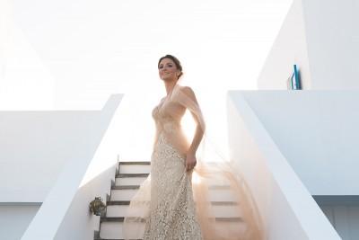 Kythira wedding, bride in white washed stairs