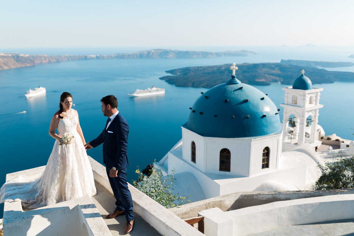 An intimate Santorini next day photo shoot of Pavlos and Dora wedding