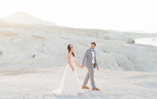 Wedding in Milos island, couple photoshoot at Sarakiniko