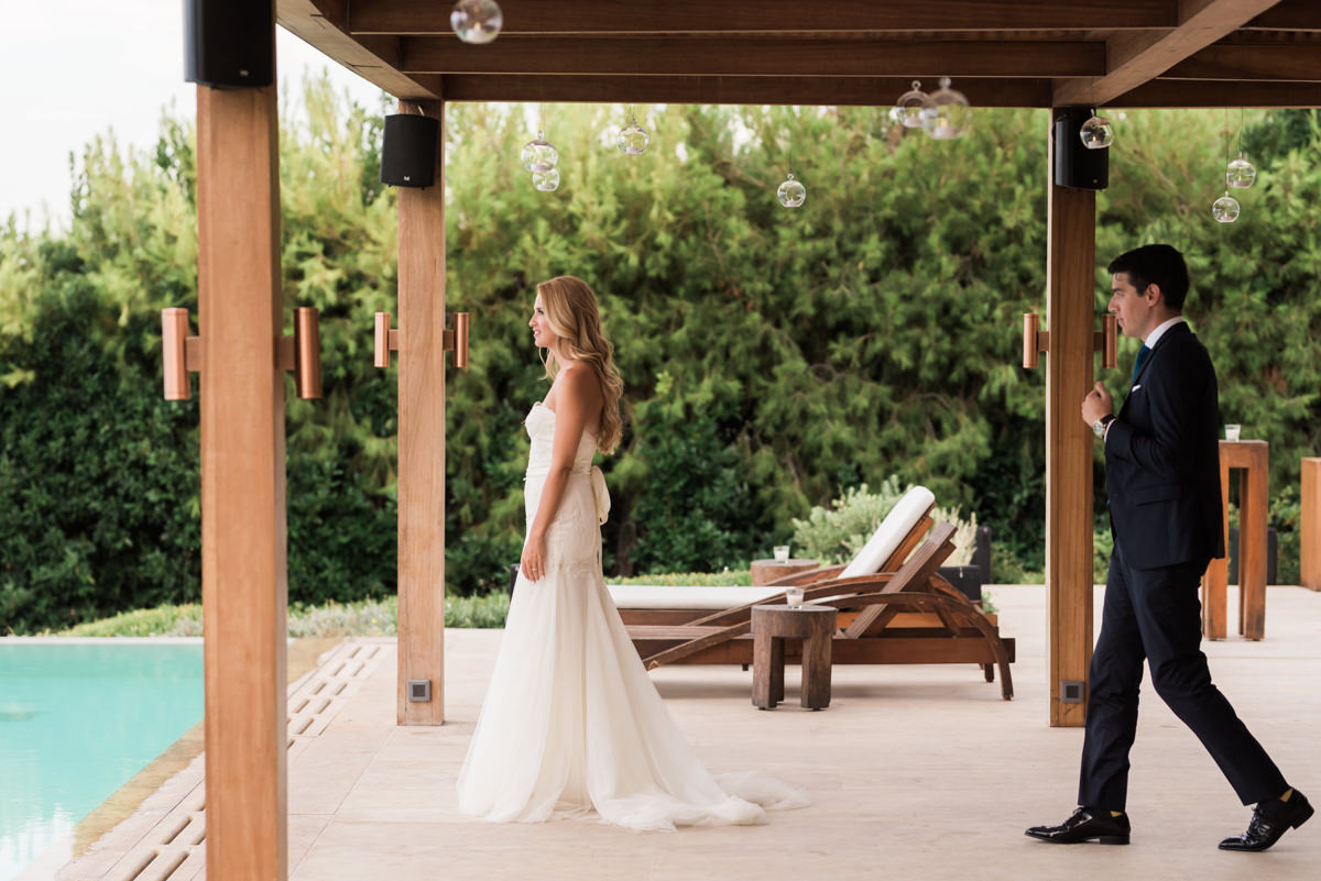 Athens Riviera Island wedding first look