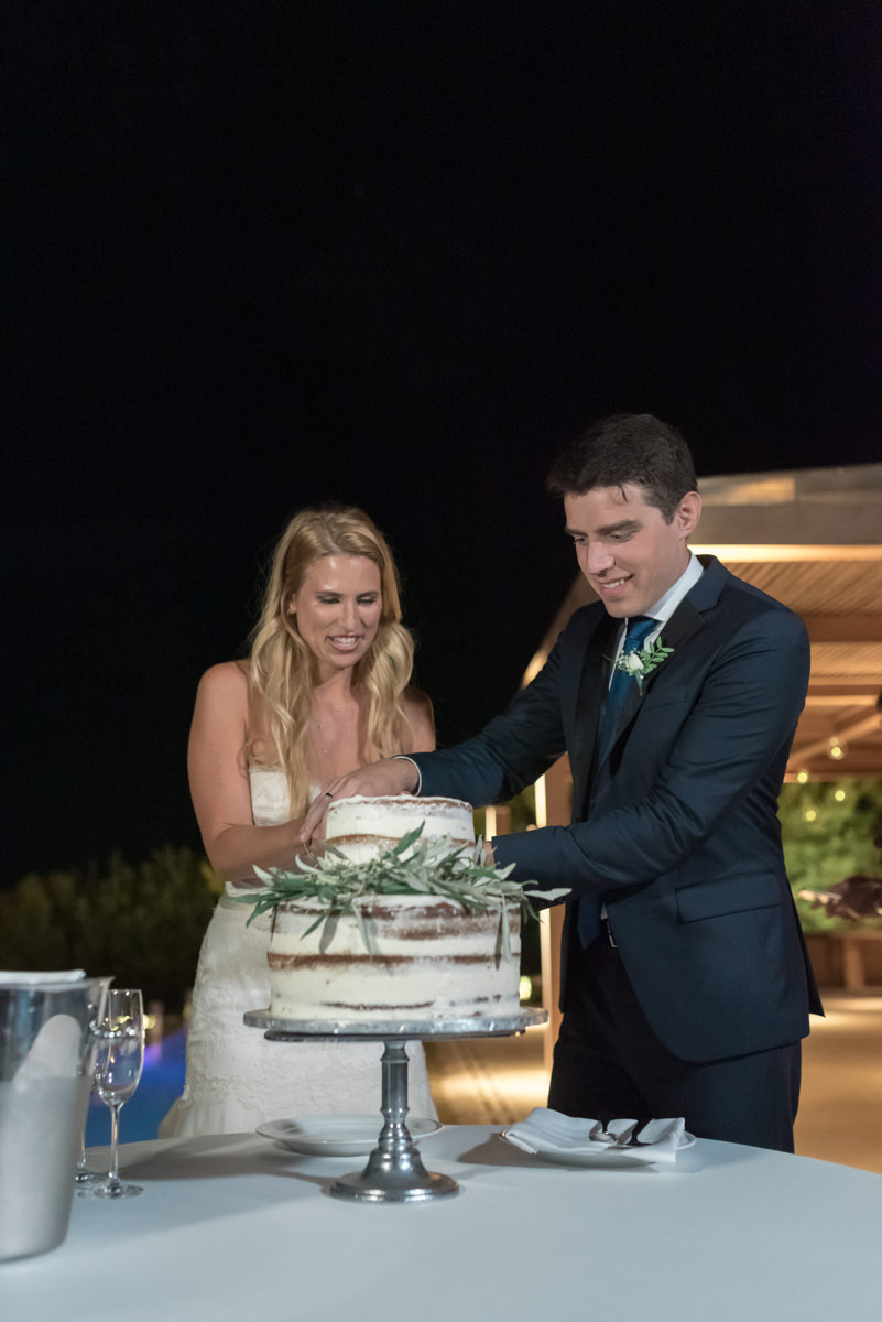 Athens Riviera Island wedding cake cutting